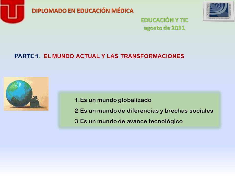 DIPLOMADO EN EDUCACIÓN MÉDICA PARTE 1. EL MUNDO ACTUAL Y LAS TRANSFORMACIONES 1.Es un mundo globalizado 2.Es un mundo de diferencias y brechas sociale