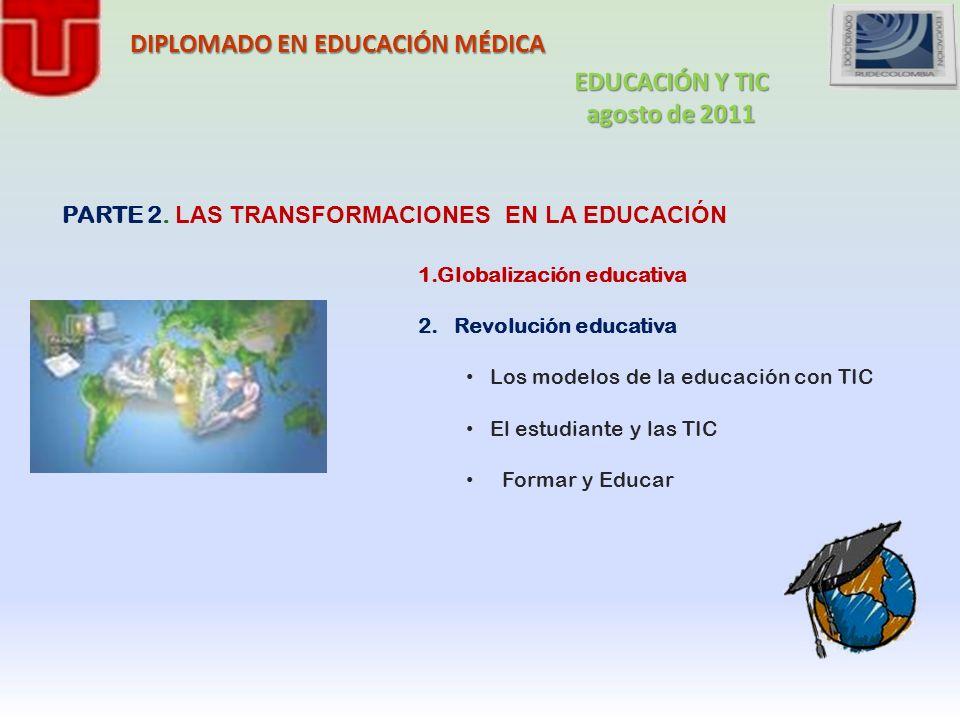 DIPLOMADO EN EDUCACIÓN MÉDICA 1.Globalización educativa 2.Revolución educativa Los modelos de la educación con TIC El estudiante y las TIC Formar y Ed