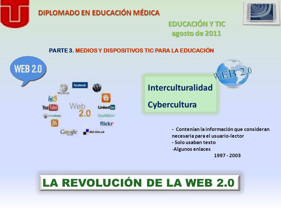 PARTE 3. MEDIOS Y DISPOSITIVOS TIC PARA LA EDUCACIÓN Interculturalidad Cybercultura LA REVOLUCIÓN DE LA WEB 2.0 - Contenían la información que conside