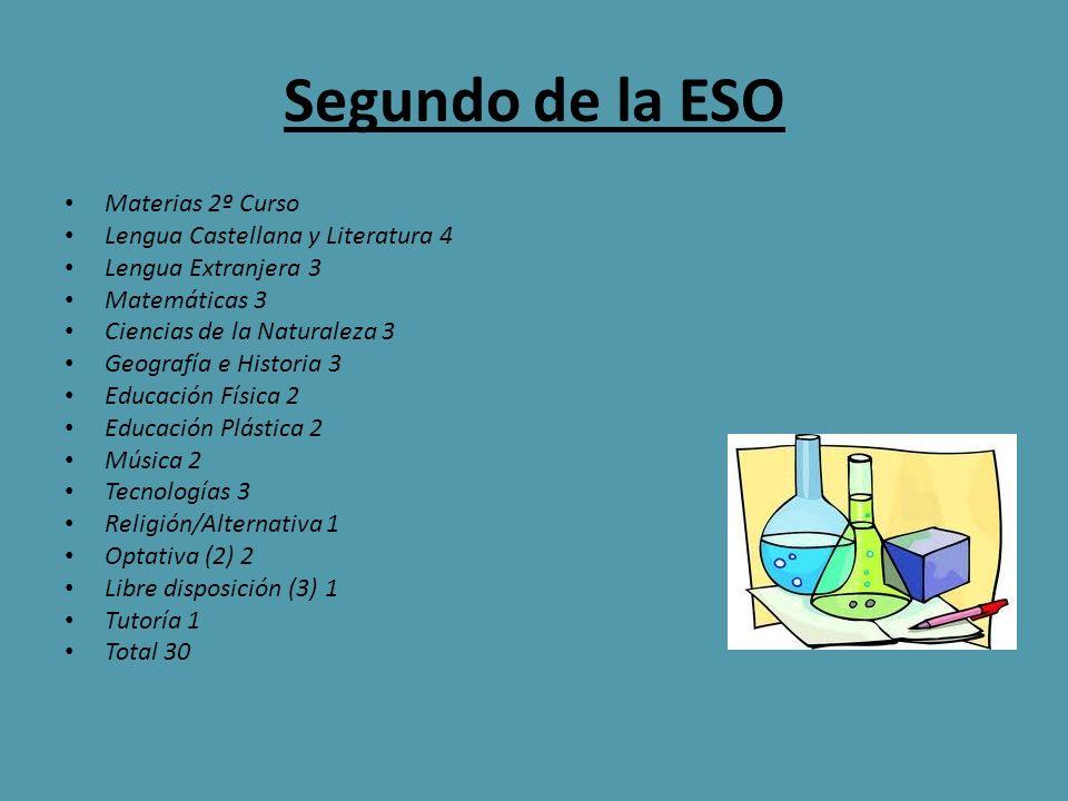 Segundo de la ESO Materias 2º Curso Lengua Castellana y Literatura 4 Lengua Extranjera 3 Matemáticas 3 Ciencias de la Naturaleza 3 Geografía e Histori