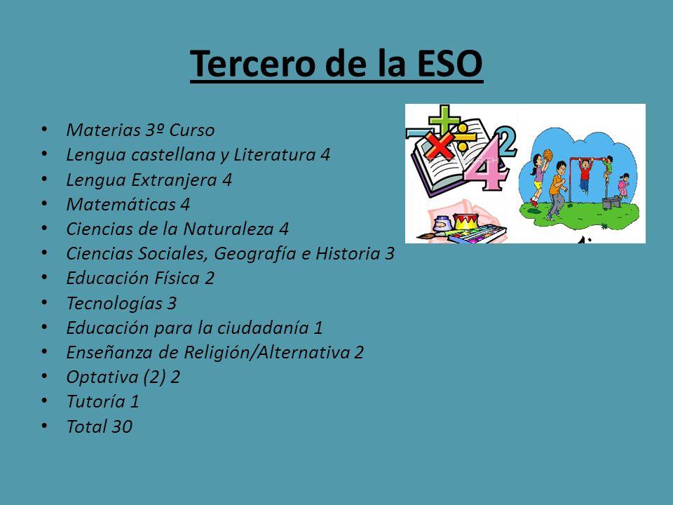 Tercero de la ESO Materias 3º Curso Lengua castellana y Literatura 4 Lengua Extranjera 4 Matemáticas 4 Ciencias de la Naturaleza 4 Ciencias Sociales,