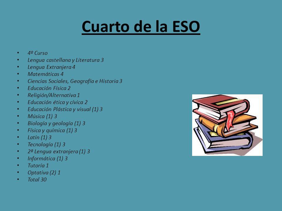 Cuarto de la ESO 4º Curso Lengua castellana y Literatura 3 Lengua Extranjera 4 Matemáticas 4 Ciencias Sociales, Geografía e Historia 3 Educación Físic