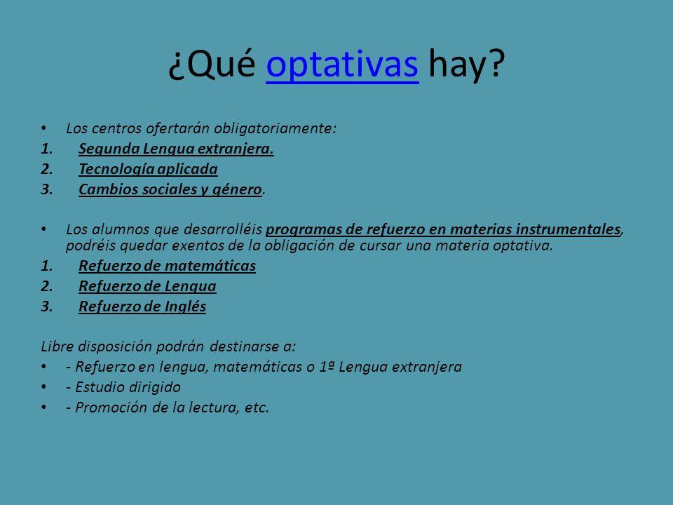 ¿Qué vamos a estudiar en 1º de la ESO MATERIASHORAS LENGUA CASTELLANA Y LITERATURA4 MATEMÁTICAS4 LENGUA EXTRANJERA4 CIENCIAS DE LA NATURALEZA3 CIENCIAS SOCIALES GEOGRAFIA E HISTORIA3 EDUCACIÓN FÍSICA2 EDUCACIÓN PLÁSTICA Y VISUAL2 MÚSICA2 ENSEÑANZA DE LA RELIGIÓN1 OPTATIVA2 TUTORIA1 LIBRE DISPOSICIÓN2 TOTAL30 HORAS