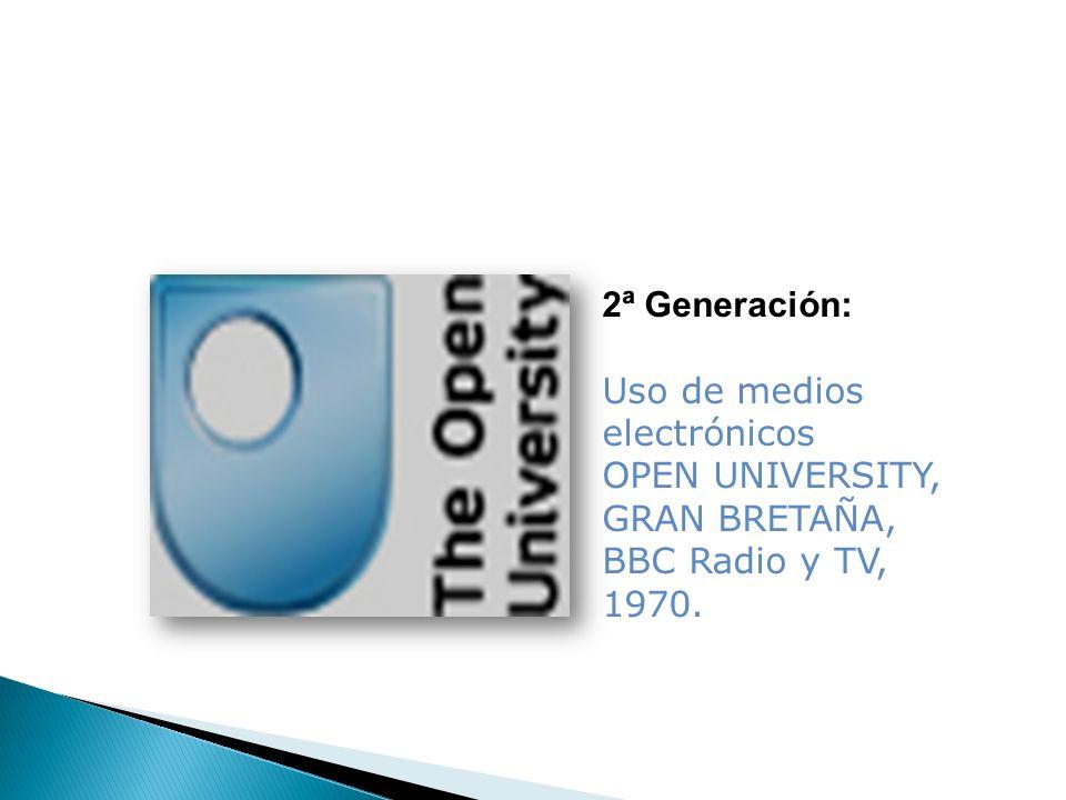 2ª Generación: Uso de medios electrónicos OPEN UNIVERSITY, GRAN BRETAÑA, BBC Radio y TV, 1970.