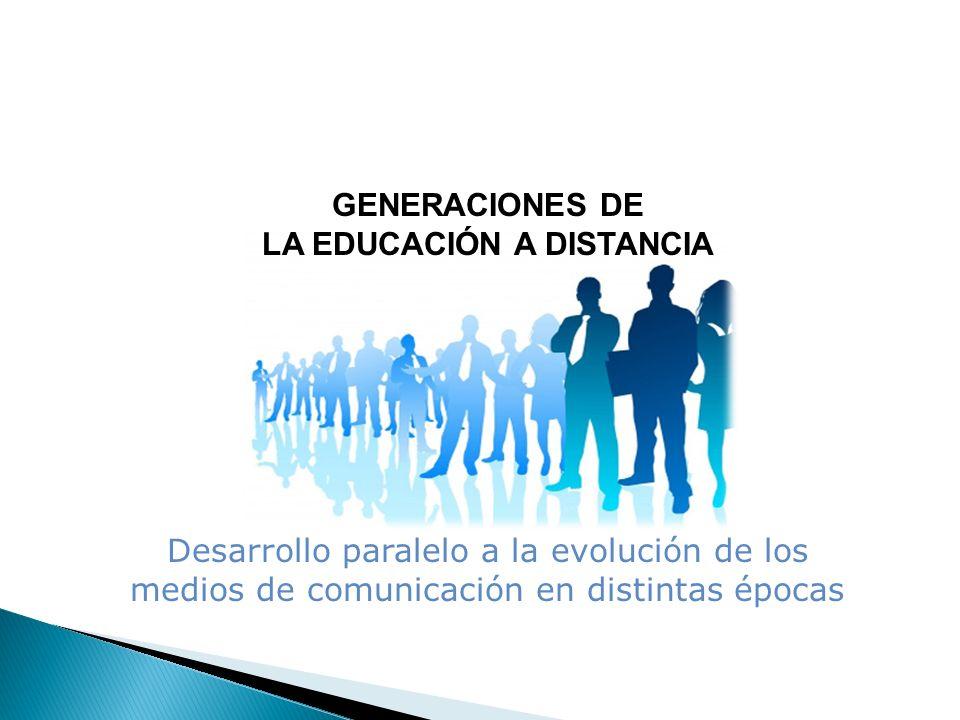 GENERACIONES DE LA EDUCACIÓN A DISTANCIA Desarrollo paralelo a la evolución de los medios de comunicación en distintas épocas