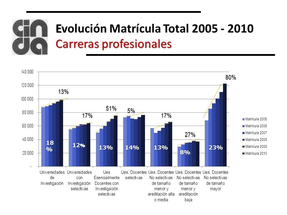 E Carreras profesionales Evolución Matrícula Total 2005 - 2010 Carreras profesionales80% 13% 17% 51% 5% 17% 27% 18 % 12 % 13%14%13% 8% 23%