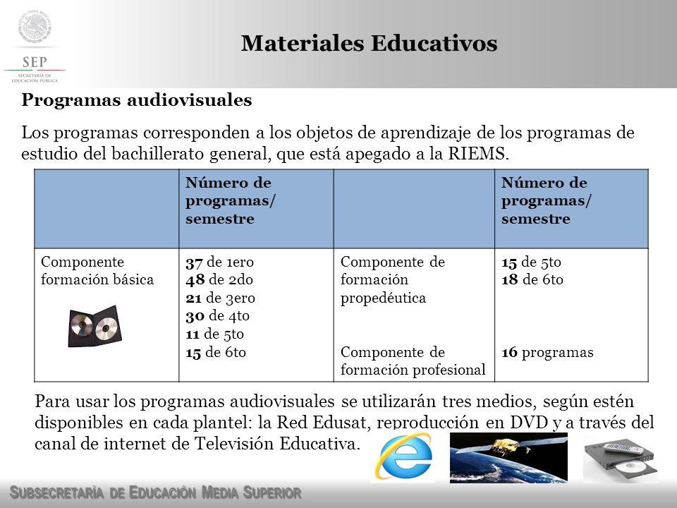 S UBSECRETARÍA DE E DUCACIÓN M EDIA S UPERIOR Programas audiovisuales Los programas corresponden a los objetos de aprendizaje de los programas de estu
