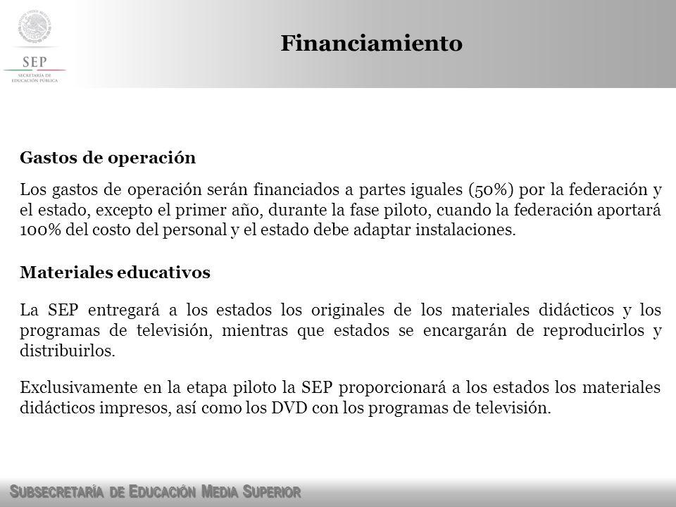 S UBSECRETARÍA DE E DUCACIÓN M EDIA S UPERIOR Financiamiento Gastos de operación Los gastos de operación serán financiados a partes iguales (50%) por
