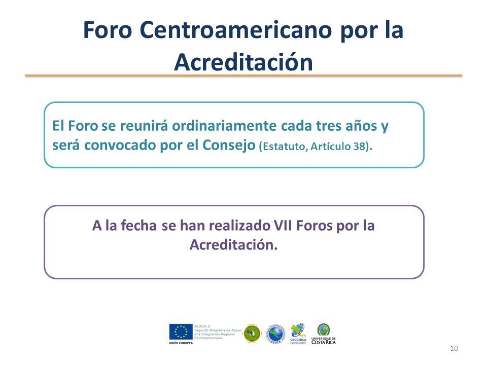 Foro Centroamericano por la Acreditación El Foro se reunirá ordinariamente cada tres años y será convocado por el Consejo (Estatuto, Artículo 38).