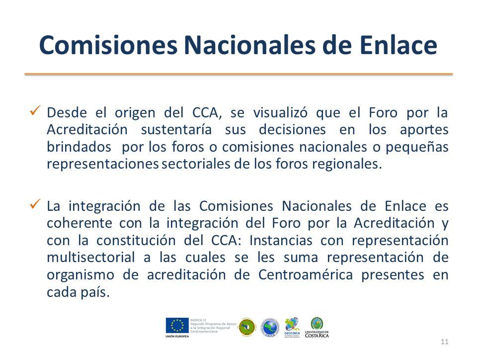 Comisiones Nacionales de Enlace Desde el origen del CCA, se visualizó que el Foro por la Acreditación sustentaría sus decisiones en los aportes brindados por los foros o comisiones nacionales o pequeñas representaciones sectoriales de los foros regionales.