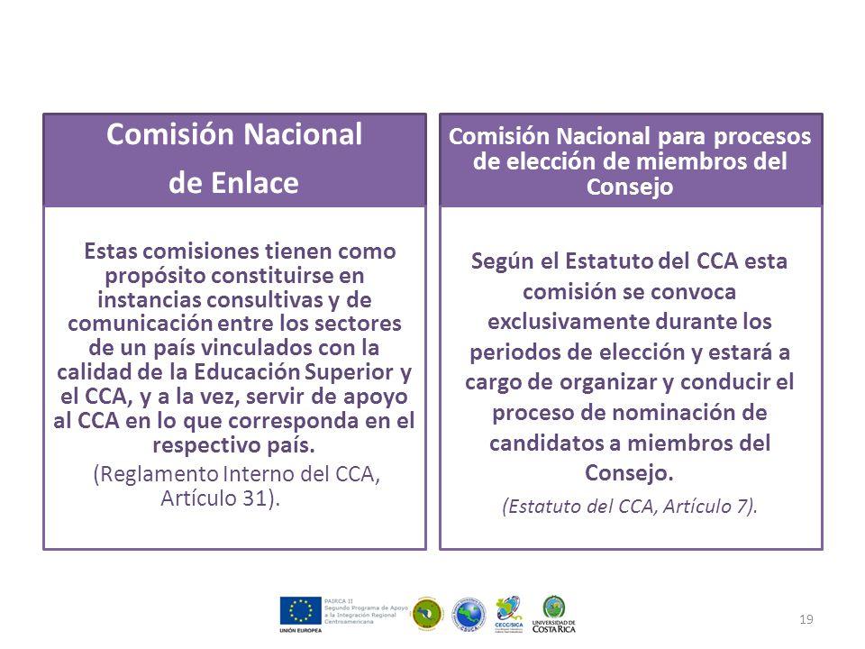 Comisión Nacional de Enlace Estas comisiones tienen como propósito constituirse en instancias consultivas y de comunicación entre los sectores de un país vinculados con la calidad de la Educación Superior y el CCA, y a la vez, servir de apoyo al CCA en lo que corresponda en el respectivo país.