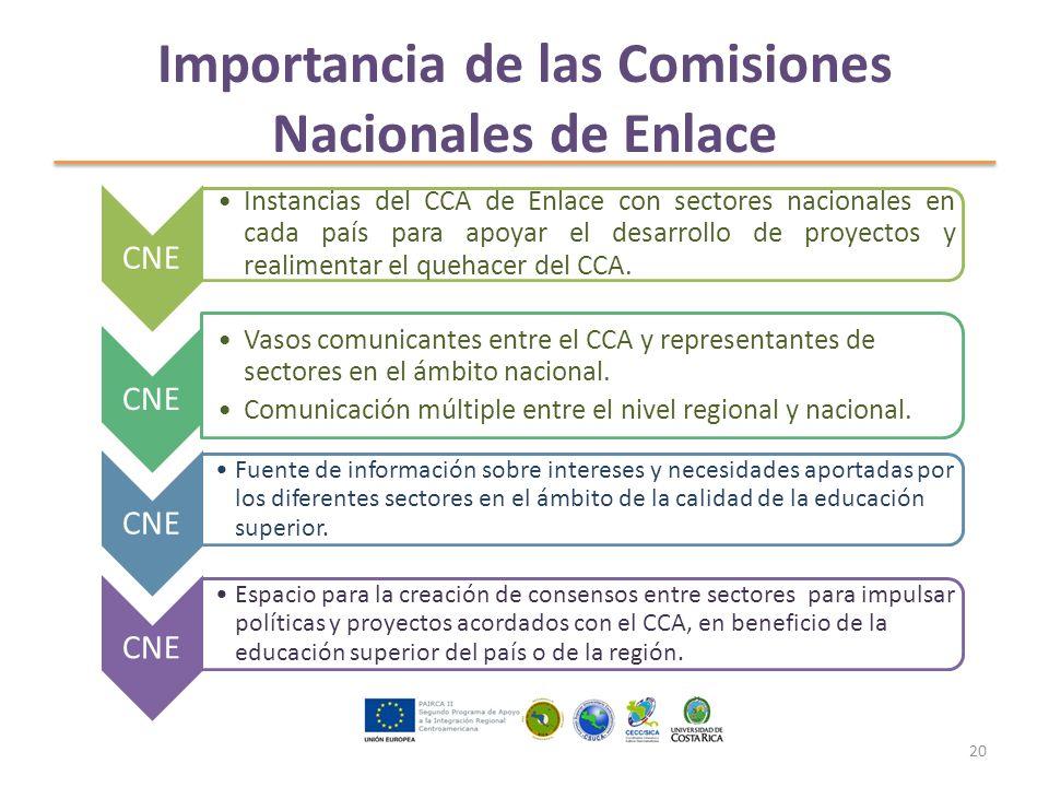 Importancia de las Comisiones Nacionales de Enlace CNE Instancias del CCA de Enlace con sectores nacionales en cada país para apoyar el desarrollo de proyectos y realimentar el quehacer del CCA.