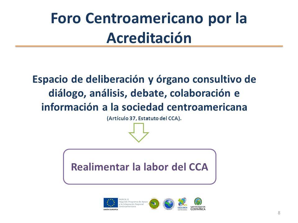 Foro Centroamericano por la Acreditación Espacio de deliberación y órgano consultivo de diálogo, análisis, debate, colaboración e información a la sociedad centroamericana (Artículo 37, Estatuto del CCA).