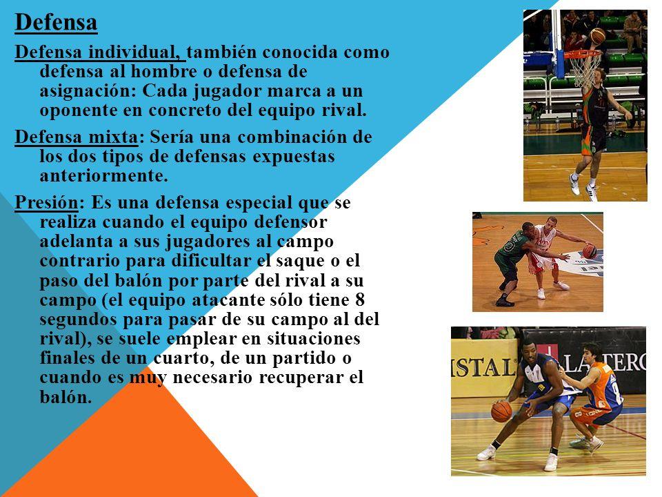 Defensa Defensa individual, también conocida como defensa al hombre o defensa de asignación: Cada jugador marca a un oponente en concreto del equipo rival.