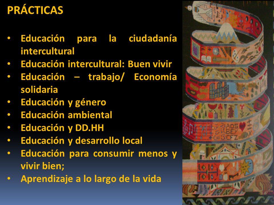 PRÁCTICAS Educación para la ciudadanía intercultural Educación intercultural: Buen vivir Educación – trabajo/ Economía solidaria Educación y género Educación ambiental Educación y DD.HH Educación y desarrollo local Educación para consumir menos y vivir bien; Aprendizaje a lo largo de la vida