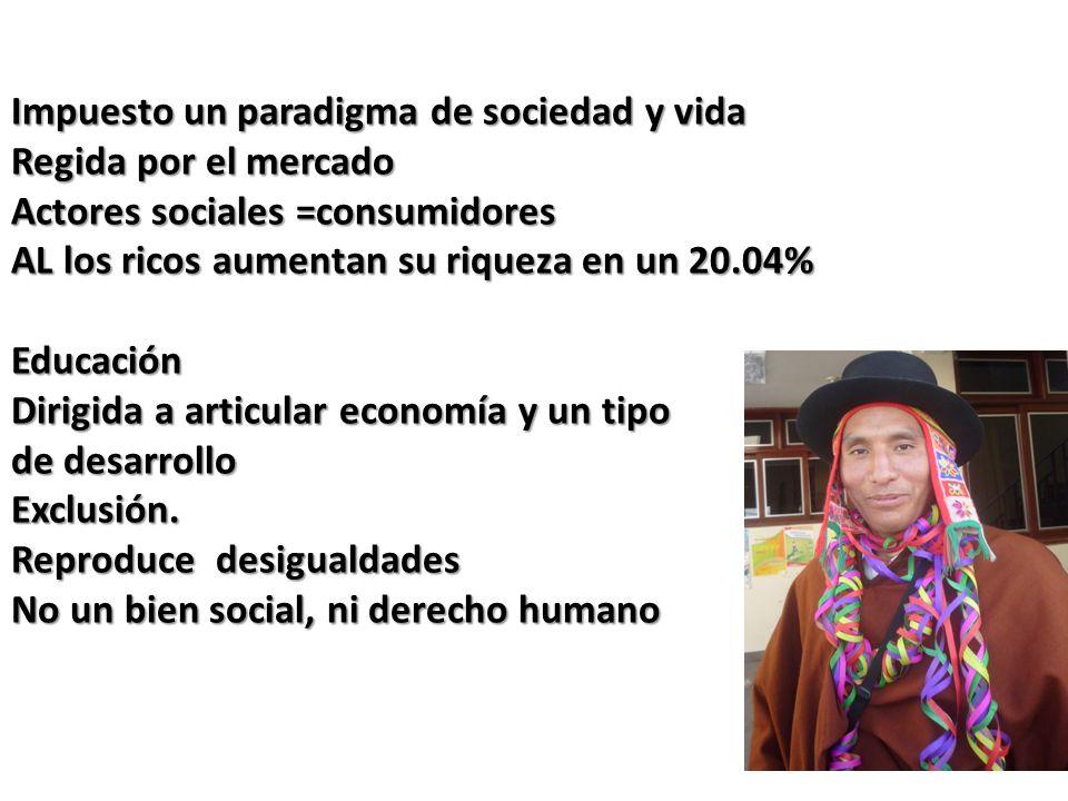 Impuesto un paradigma de sociedad y vida Regida por el mercado Actores sociales =consumidores AL los ricos aumentan su riqueza en un 20.04% Educación Dirigida a articular economía y un tipo de desarrollo Exclusión.