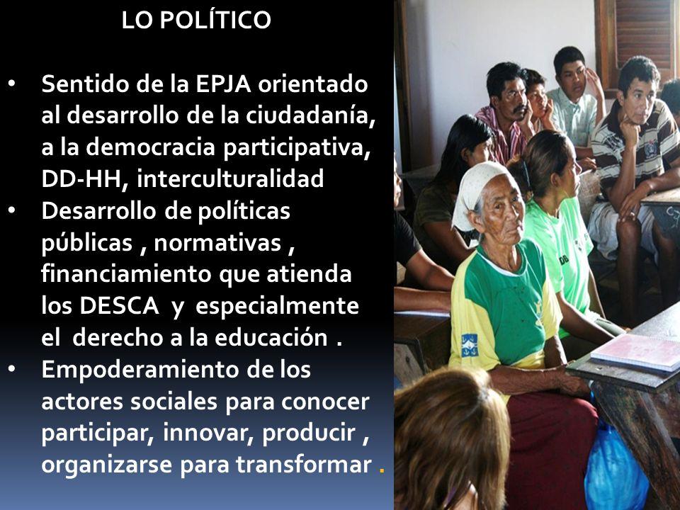 LO POLÍTICO Sentido de la EPJA orientado al desarrollo de la ciudadanía, a la democracia participativa, DD-HH, interculturalidad Desarrollo de políticas públicas, normativas, financiamiento que atienda los DESCA y especialmente el derecho a la educación.