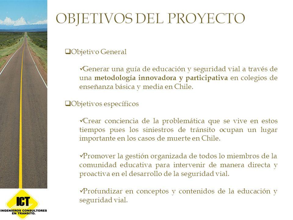 Objetivo General Generar una guía de educación y seguridad vial a través de una metodología innovadora y participativa en colegios de enseñanza básica y media en Chile.