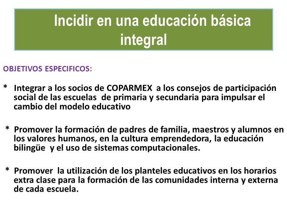 OBJETIVOS ESPECIFICOS: * Integrar a los socios de COPARMEX a los consejos de participación social de las escuelas de primaria y secundaria para impuls