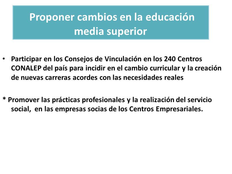 Proponer cambios en la educación media superior Participar en los Consejos de Vinculación en los 240 Centros CONALEP del país para incidir en el cambi
