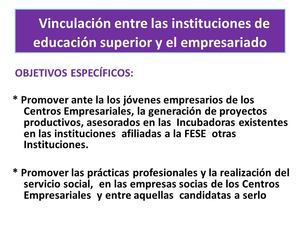 OBJETIVOS ESPECÍFICOS: * Promover ante la los jóvenes empresarios de los Centros Empresariales, la generación de proyectos productivos, asesorados en las Incubadoras existentes en las instituciones afiliadas a la FESE otras Instituciones.