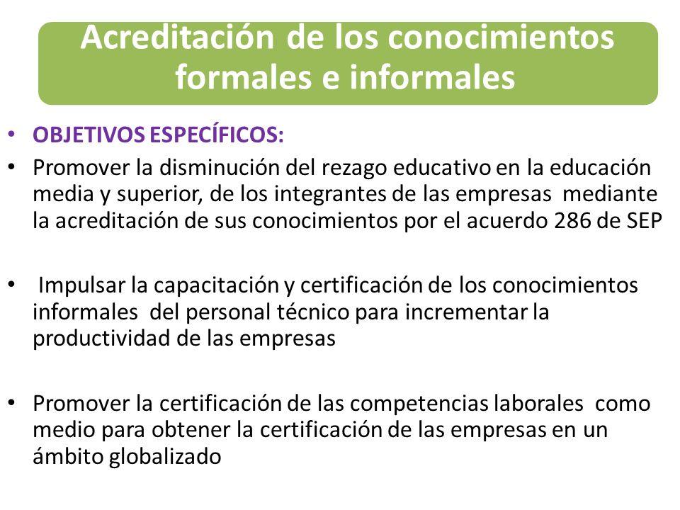 OBJETIVOS ESPECÍFICOS: Promover la disminución del rezago educativo en la educación media y superior, de los integrantes de las empresas mediante la a