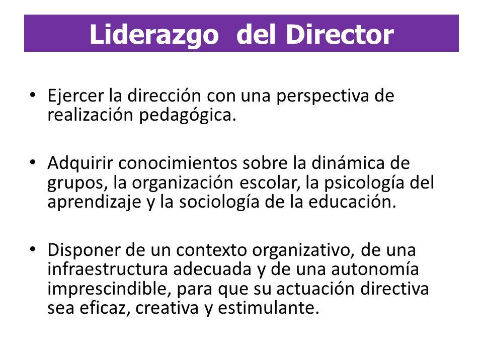 Ejercer la dirección con una perspectiva de realización pedagógica. Adquirir conocimientos sobre la dinámica de grupos, la organización escolar, la ps