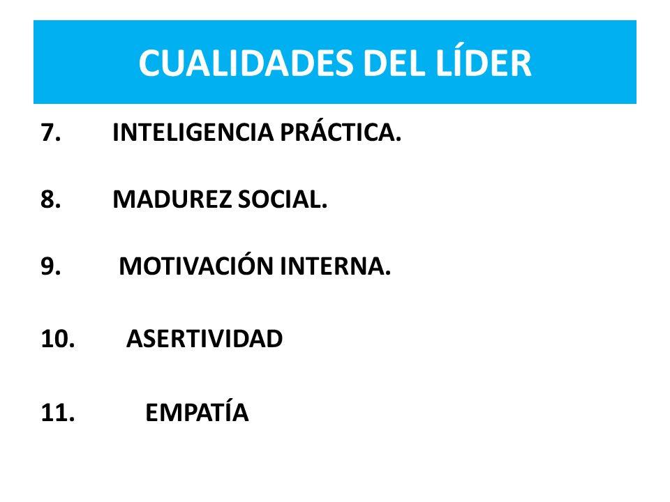 7. INTELIGENCIA PRÁCTICA. 8. MADUREZ SOCIAL. 9. MOTIVACIÓN INTERNA. 10. ASERTIVIDAD 11. EMPATÍA CUALIDADES DEL LÍDER