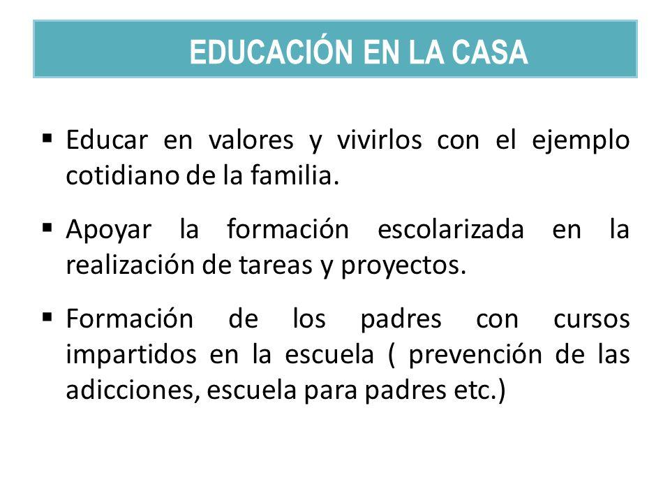 Educar en valores y vivirlos con el ejemplo cotidiano de la familia. Apoyar la formación escolarizada en la realización de tareas y proyectos. Formaci