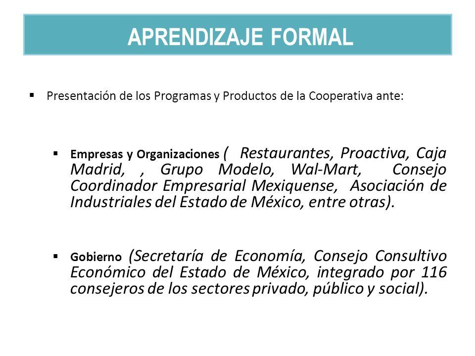 Presentación de los Programas y Productos de la Cooperativa ante: Empresas y Organizaciones ( Restaurantes, Proactiva, Caja Madrid,, Grupo Modelo, Wal-Mart, Consejo Coordinador Empresarial Mexiquense, Asociación de Industriales del Estado de México, entre otras).
