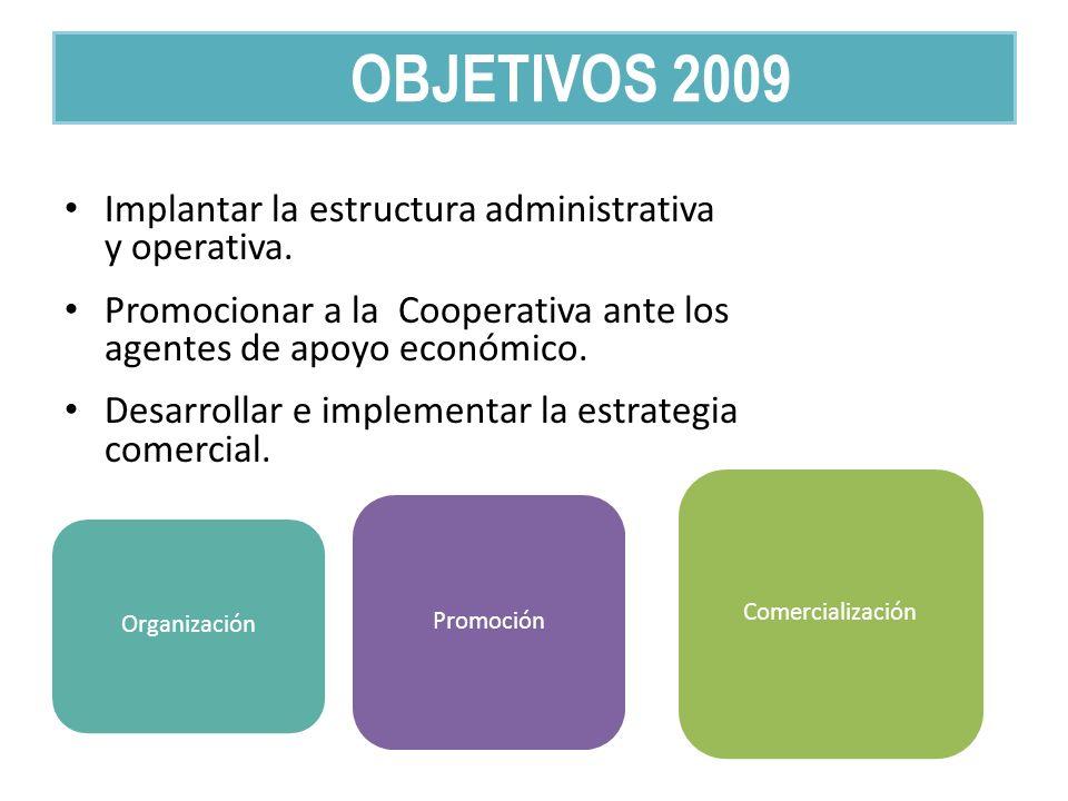 Implantar la estructura administrativa y operativa. Promocionar a la Cooperativa ante los agentes de apoyo económico. Desarrollar e implementar la est