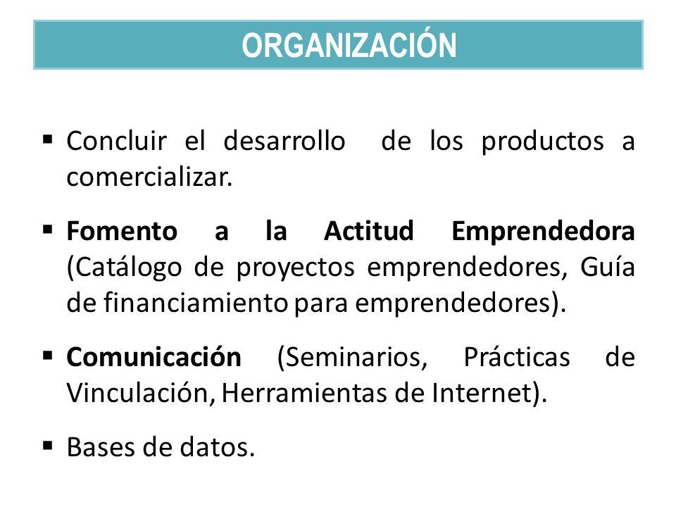 Concluir el desarrollo de los productos a comercializar. Fomento a la Actitud Emprendedora (Catálogo de proyectos emprendedores, Guía de financiamient
