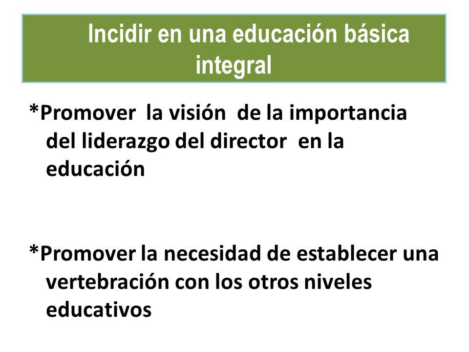 Incidir en una educación básica integral *Promover la visión de la importancia del liderazgo del director en la educación *Promover la necesidad de es