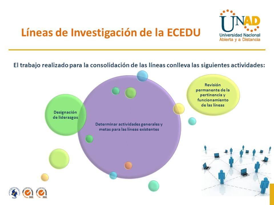 Líneas de Investigación de la ECEDU Determinar actividades generales y metas para las líneas existentes Designación de liderazgos Revisión permanente de la pertinencia y funcionamiento de las líneas El trabajo realizado para la consolidación de las líneas conlleva las siguientes actividades: