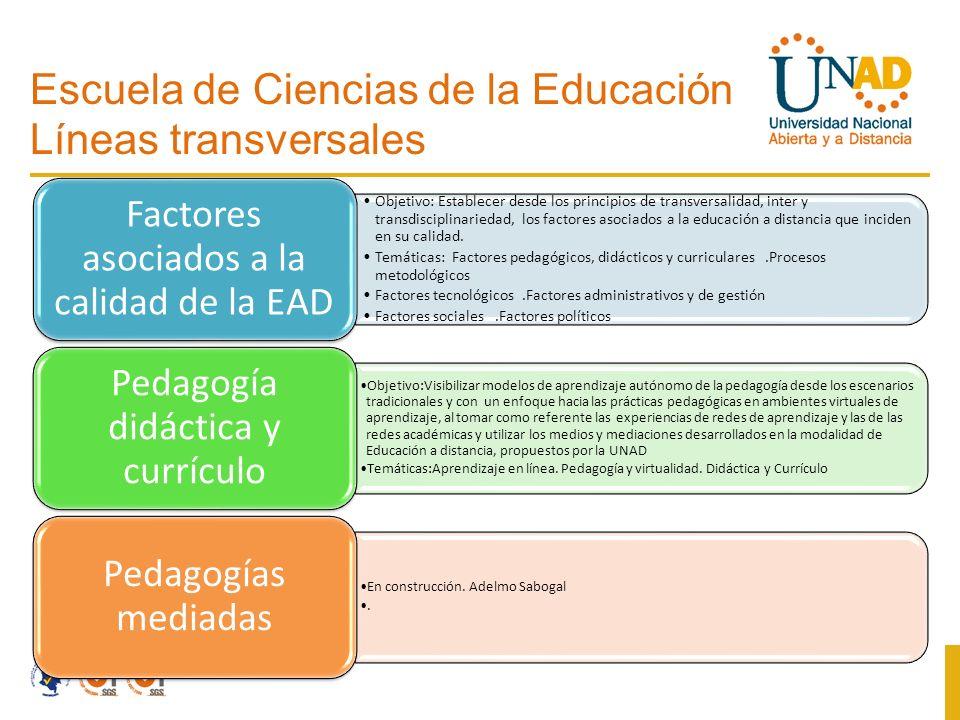 Escuela de Ciencias de la Educación Líneas transversales Objetivo: Establecer desde los principios de transversalidad, inter y transdisciplinariedad, los factores asociados a la educación a distancia que inciden en su calidad.