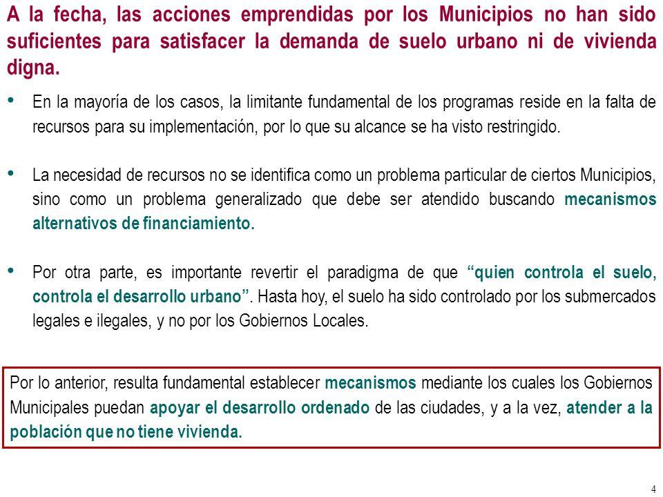 En México, se han puesto en marcha varios programas de desarrollo urbano, tanto a nivel Federal como a nivel Local, sin embargo, para poder dotar a la población de mejores desarrollos habitacionales, será necesario: Que los Municipios influyan en el tipo de ciudades que se construirán o rehabilitarán por los privados, haciéndose copartícipes de los beneficios en la construcción de las mismas.