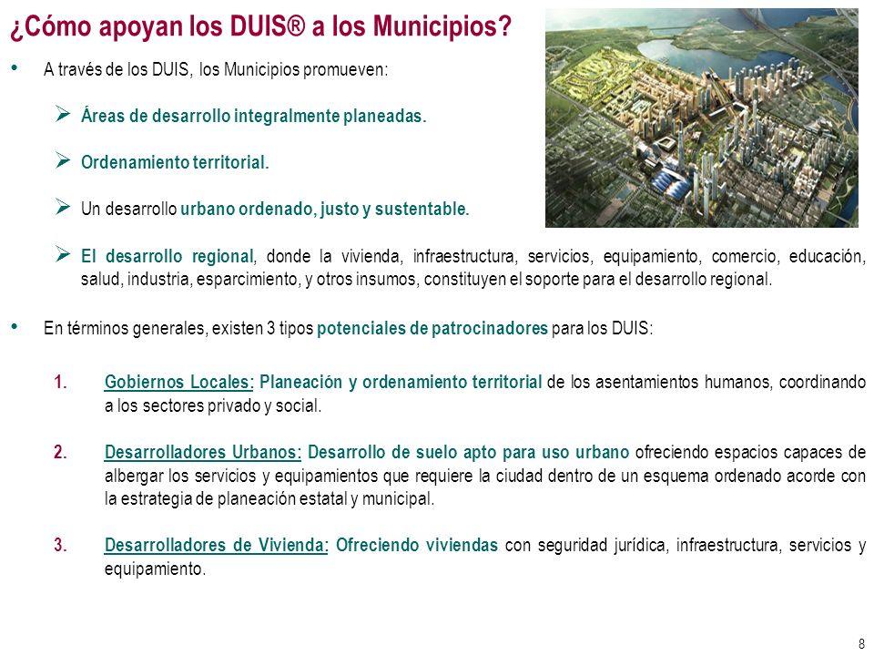 ¿Cómo apoyan los DUIS® a los Municipios? A través de los DUIS, los Municipios promueven: Áreas de desarrollo integralmente planeadas. Ordenamiento ter