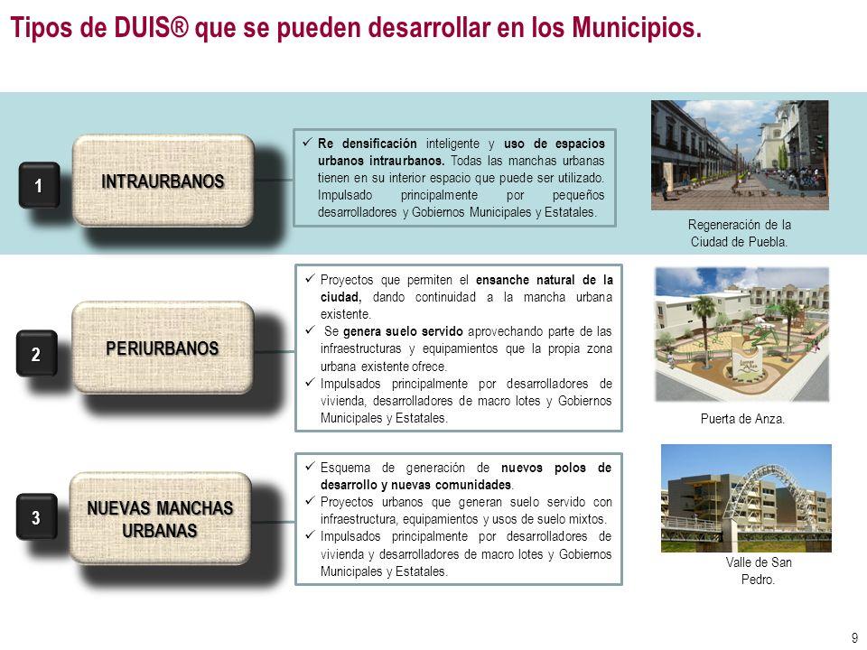 Tipos de DUIS® que se pueden desarrollar en los Municipios. Re densificación inteligente y uso de espacios urbanos intraurbanos. Todas las manchas urb
