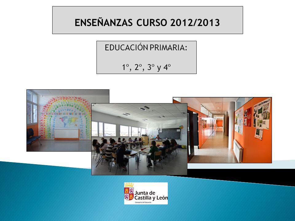 ENSEÑANZAS CURSO 2012/2013 EDUCACIÓN SECUNDARIA OBLIGATORIA: 1º ESO (2 AULAS) 2º ESO 3º ESO