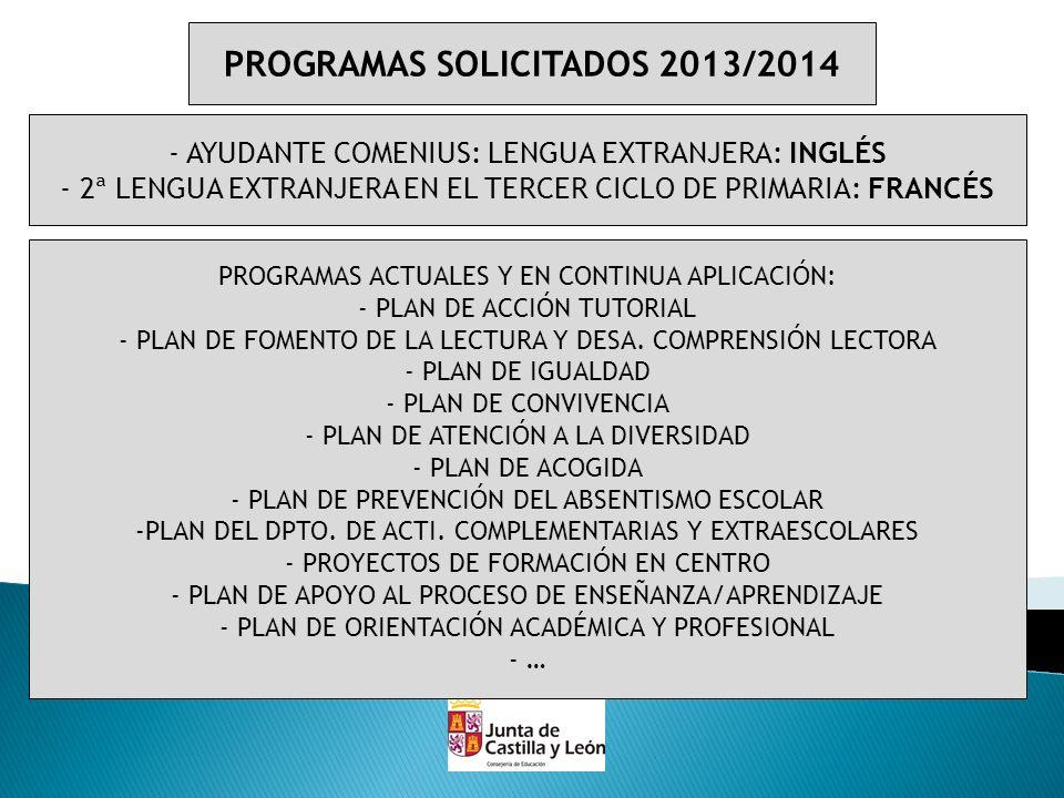 PROGRAMAS SOLICITADOS 2013/2014 - AYUDANTE COMENIUS: LENGUA EXTRANJERA: INGLÉS - 2ª LENGUA EXTRANJERA EN EL TERCER CICLO DE PRIMARIA: FRANCÉS PROGRAMA