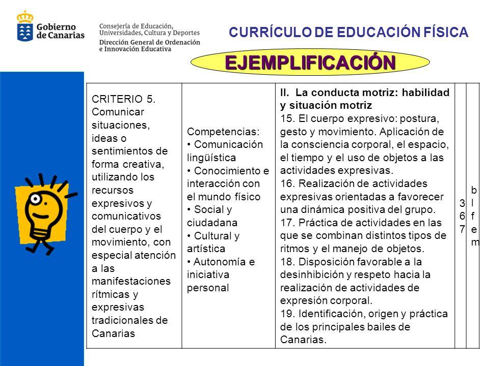 CURRÍCULO DE EDUCACIÓN FÍSICA EJEMPLIFICACIÓN CRITERIO 5.