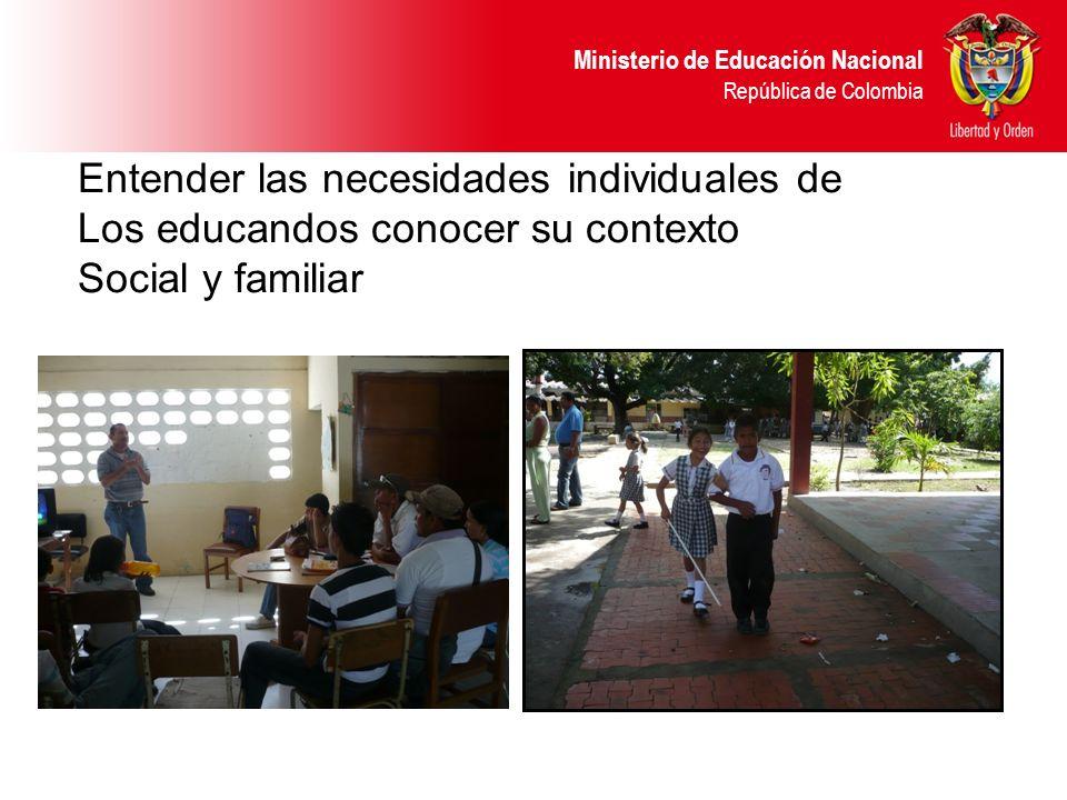 Ministerio de Educación Nacional República de Colombia Entender las necesidades individuales de Los educandos conocer su contexto Social y familiar