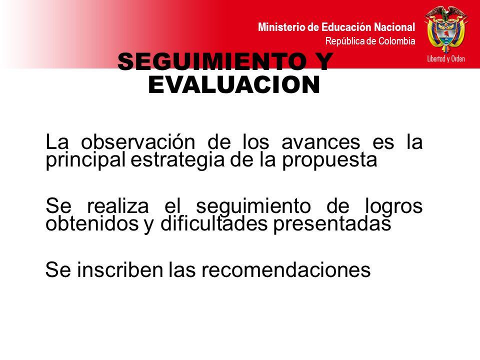 Ministerio de Educación Nacional República de Colombia SEGUIMIENTO Y EVALUACION La observación de los avances es la principal estrategia de la propues