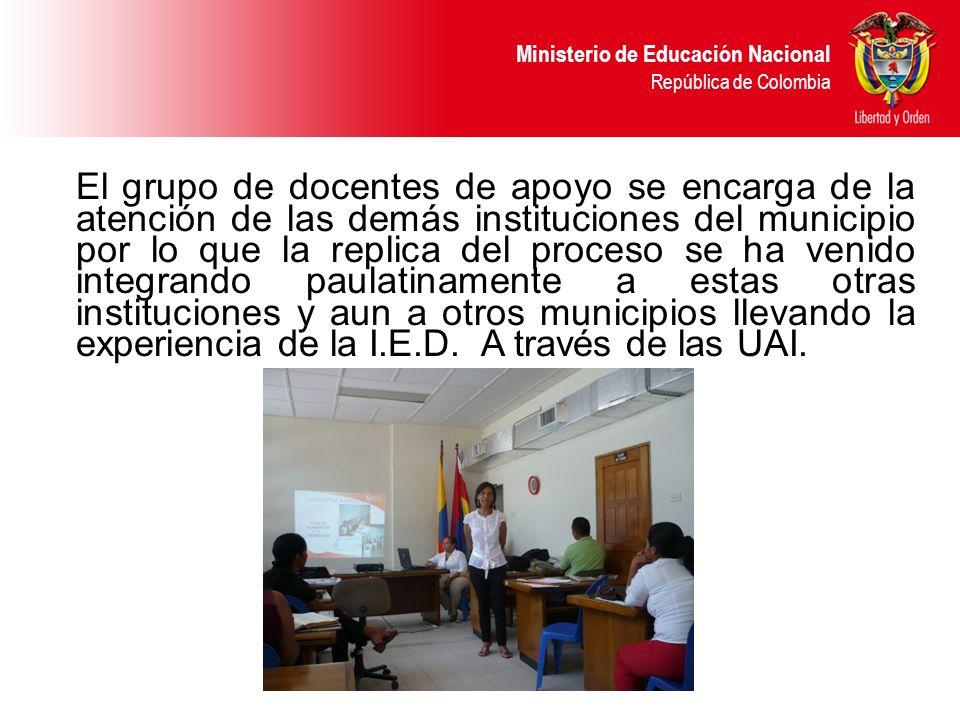 Ministerio de Educación Nacional República de Colombia El grupo de docentes de apoyo se encarga de la atención de las demás instituciones del municipi
