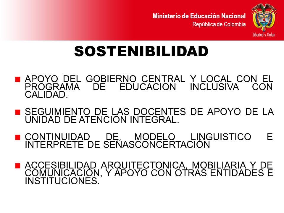 Ministerio de Educación Nacional República de Colombia APOYO DEL GOBIERNO CENTRAL Y LOCAL CON EL PROGRAMA DE EDUCACION INCLUSIVA CON CALIDAD. SEGUIMIE