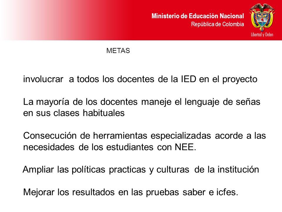 Ministerio de Educación Nacional República de Colombia METAS involucrar a todos los docentes de la IED en el proyecto La mayoría de los docentes manej
