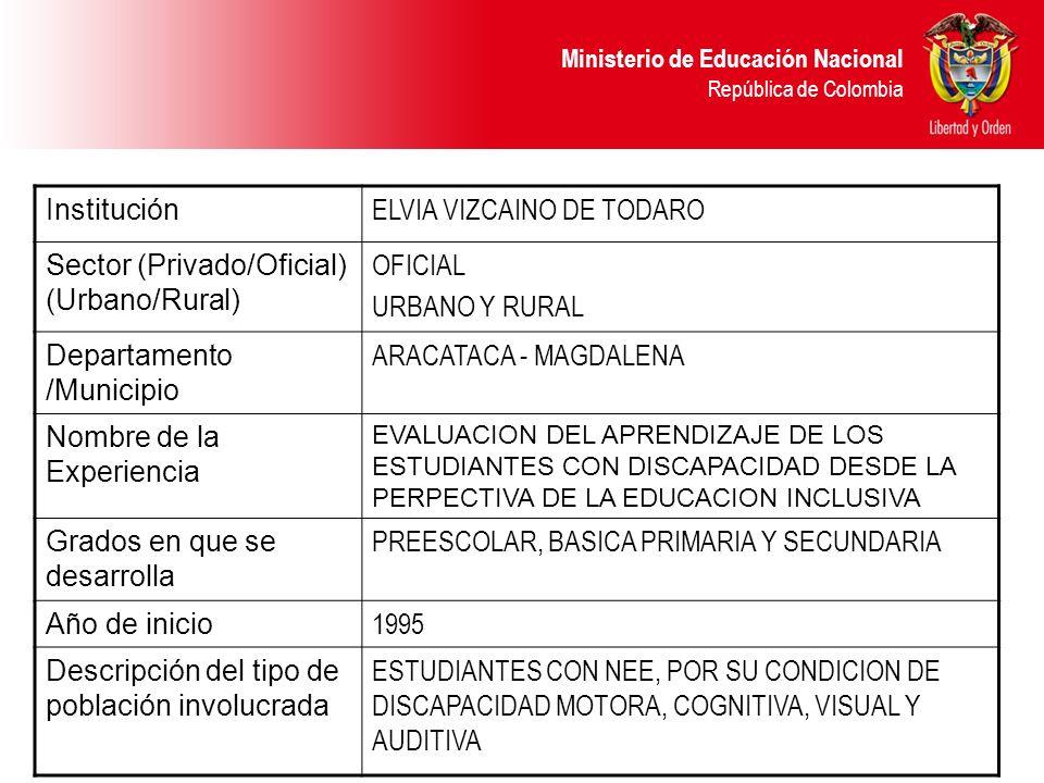 Ministerio de Educación Nacional República de Colombia Institución ELVIA VIZCAINO DE TODARO Sector (Privado/Oficial) (Urbano/Rural) OFICIAL URBANO Y R