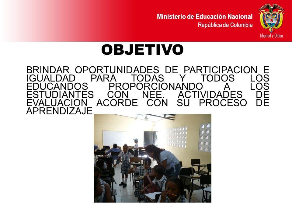 Ministerio de Educación Nacional República de Colombia OBJETIVO BRINDAR OPORTUNIDADES DE PARTICIPACION E IGUALDAD PARA TODAS Y TODOS LOS EDUCANDOS PRO