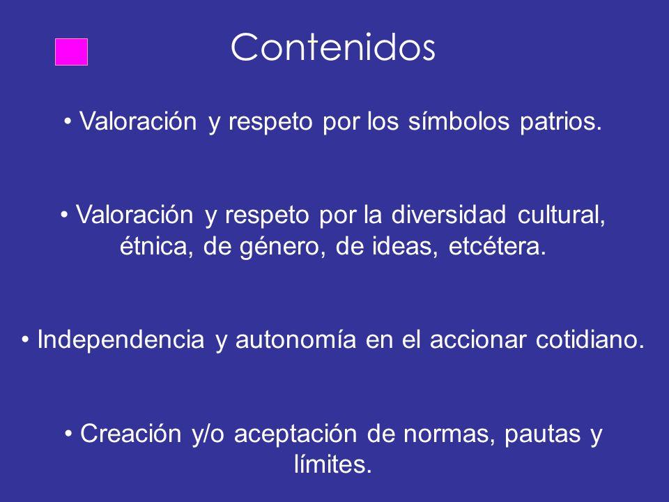 Contenidos Valoración y respeto por los símbolos patrios.