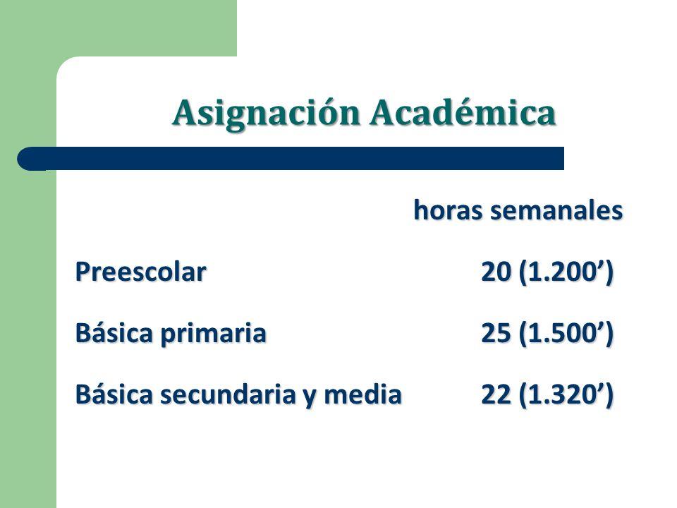 Asignación Académica horas semanales Preescolar20 (1.200) Básica primaria 25 (1.500) Básica secundaria y media22 (1.320)